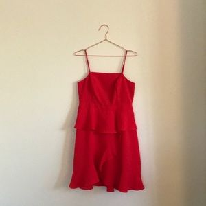 never been worn red spaghetti strap ruffle dress